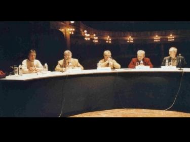Homenaje a Guinjoan. Joan Carles Blanch, Presidente de Col·lectiu de Compositors de Tarragona; Joan Tortajada, Director Serveis Territorials de Tarragona,  Joan Guijoan, C- Tieles, Josep Ma. Balanyà, Presidente Asso. Catalana de Compositor
