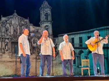 """Festival de Habaneras de La Habana. """"Mariners de Riera"""": Jordi Casas, Joan Castelló, Jordi González y Xavier Delgado, Gala Clausura 9 noviembre 2019, Teatro América, La Habana, Cuba"""